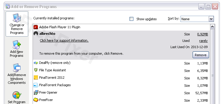 Albrechto in the Add Remove programs dialog