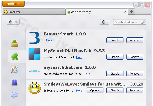 BrowseSmart 1.0.0 in listed in the Firefox Extensions