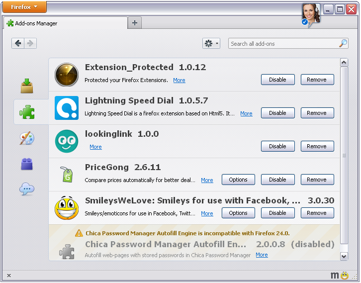 Extension_protection Lightning Speed Dial in Firefox