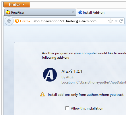 AtuZi-1.0.1 Firefox add-on requesting install