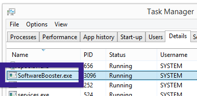 SoftwareBooster.exe task manager