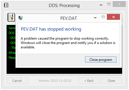 PEV.DAT has stopped working - DDS error message