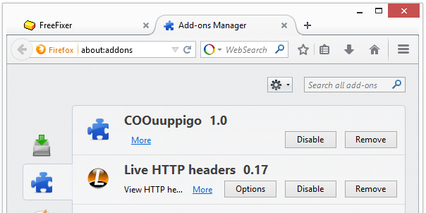 Coupigo Adware in Mozilla Firefox Add-ons Manager
