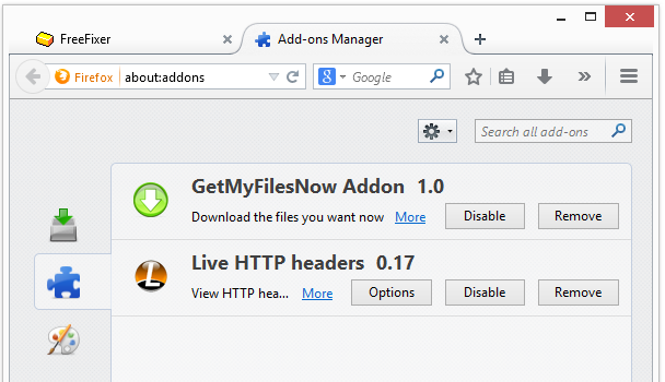 getmyfilesnow addon 1.0 in Firefox