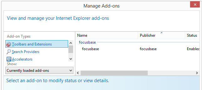 Focusbase Internet Explorer add-on