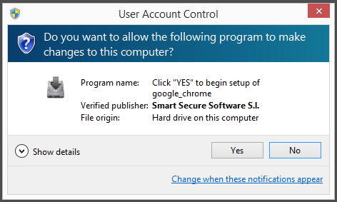 Smart secure software sl - google_chrome.exe - Click Yes to begin setup