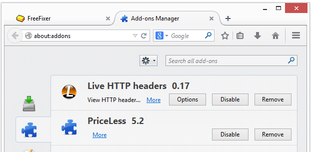 PriceLess 5.2 in Firefox