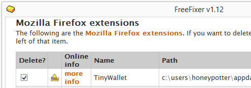 TinyWallet firefox extension