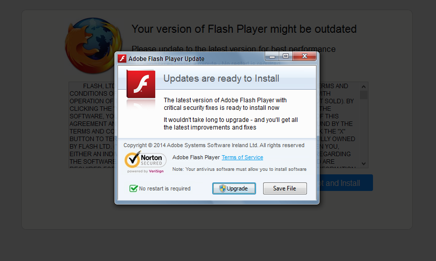 Faked Flash Update pop up windows