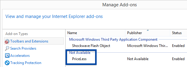 Priceless in Internet Explorer