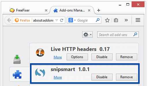 snipsmart in firefox's add-on menu