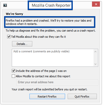 Mozilla crash reporter appears when Firefox crashes