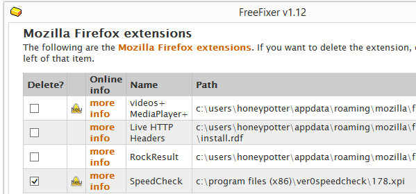 Speedcheck Firefox removal with FreeFixer