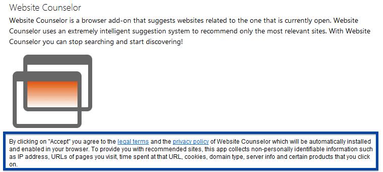 Website Counselor installer disclosure