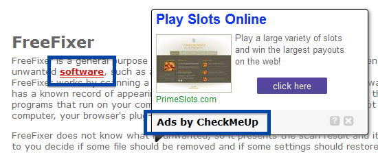 Ads by CheckMeUp mouse over pop-up
