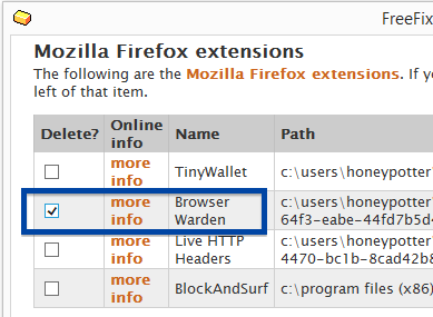 Browser Warden remove firefox add-on