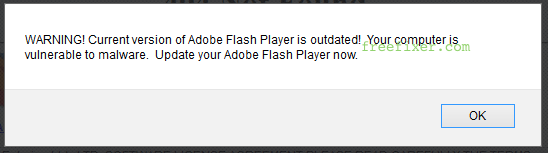 WARNING! Current version of Adobe Flash Player is outdated! Your computer is vulnerable to malware. Update your Adobe Flash Player now.