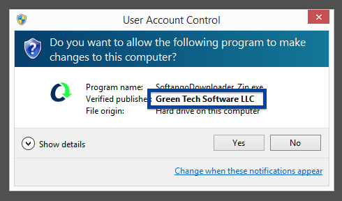 Green Tech Software LLC publisher in the User Account Control