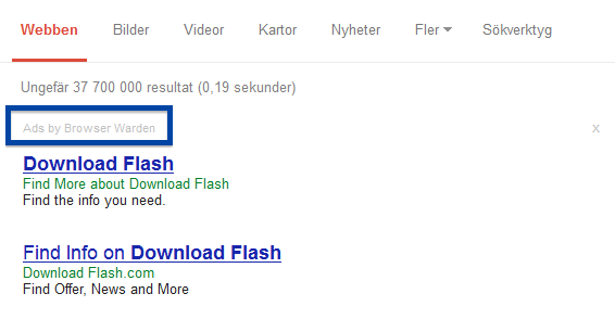 Ads by Browser Warden in Google's search results