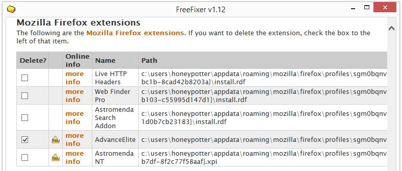 removing advanceelite from firefox