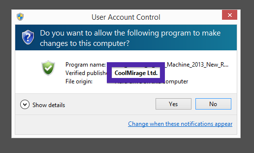 CoolMirage Ltd. publisher in the UAC dialog