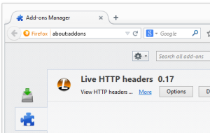 Firefox add-ons manager