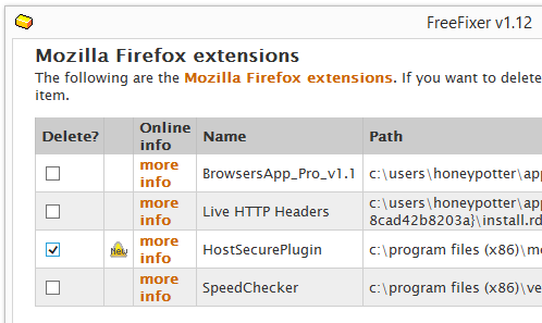 HostSecurePlugin firefox remove