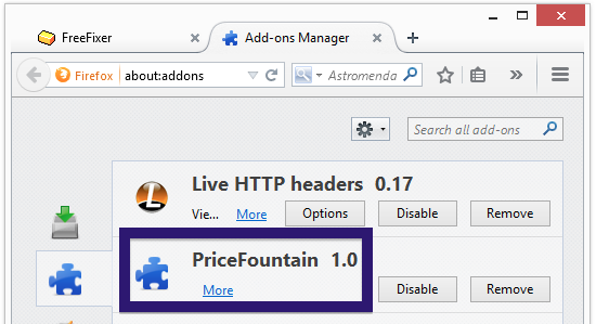 PriceFountain 1.0 firefox add-on menu