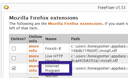 Internet Program remove firefox