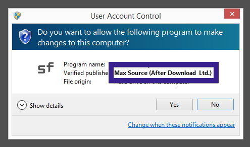 Max Source After Download  Ltd in the User Account Control dialog