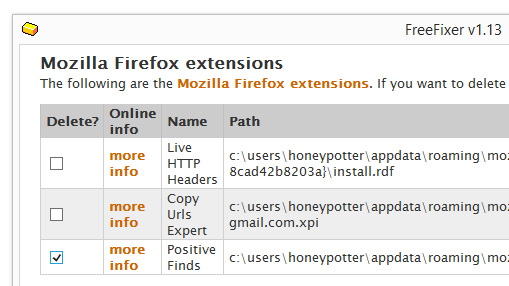 Positive Finds firefox remove
