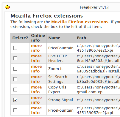 remove strong signal firefox