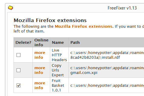 remove FruitBasket firefox