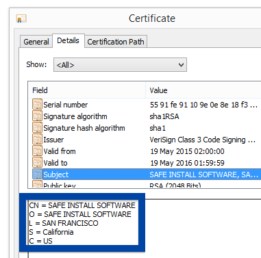 SAFE INSTALL SOFTWARE certificate