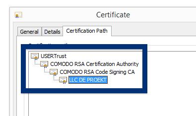 LLC DE PROEKT certificate chain