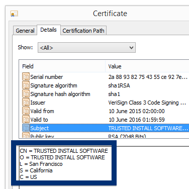 TRUSTED INSTALL SOFTWARE cert
