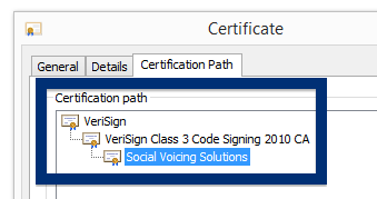Social Voicing Solutions cert chain verisign