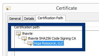 Vega Resource LLC cert path