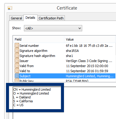 Hummingbird Limited cert