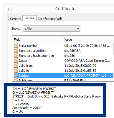 LLC LEVADIYA-PROEKT certificate