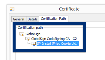 SM Install (Fried Cookie Ltd.) cert chain globalsign