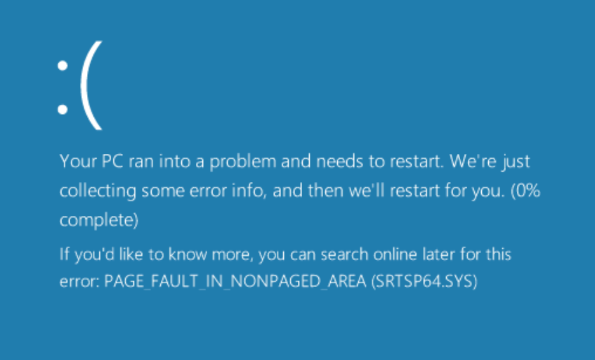 SRTSP64.SYS PAGE_FAULT_IN_NONPAGED_AREA