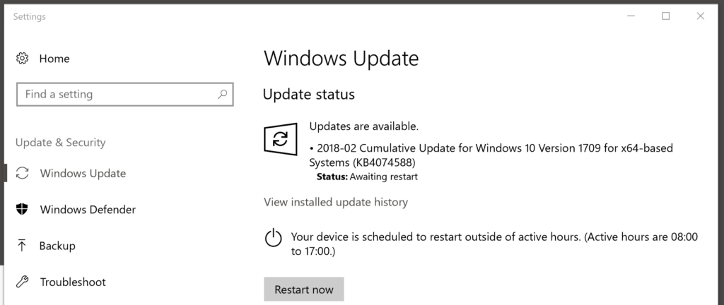 windows updates KB407588 awaiting restart