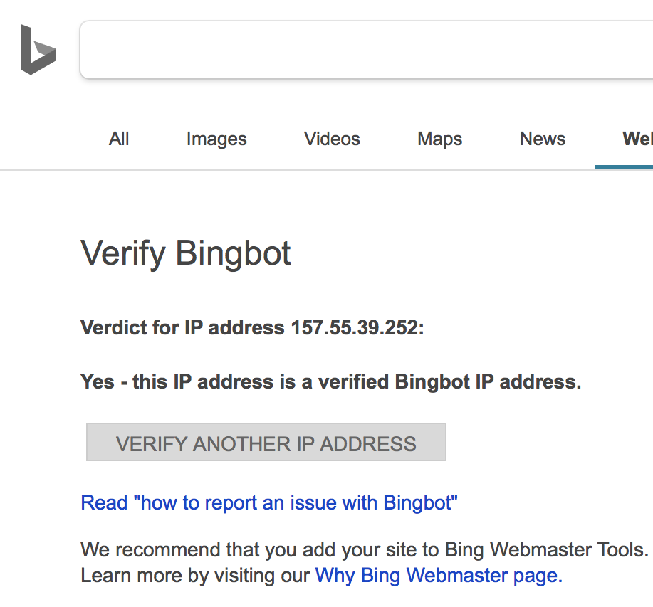Verify bingbot tool reports 157.55.39.252 is a real bingbot