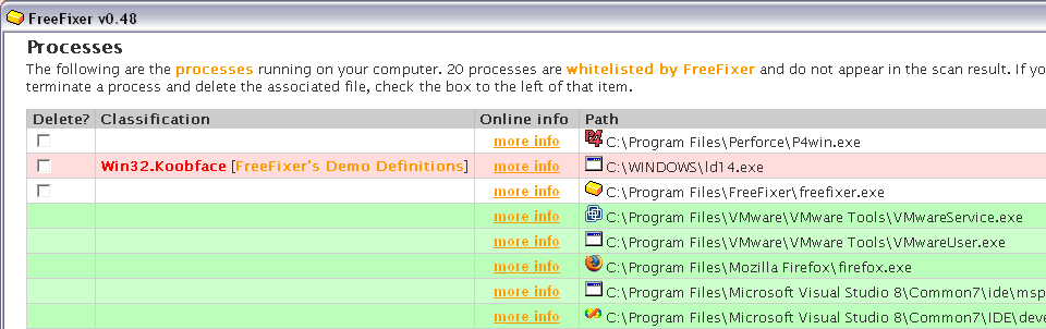 Screenshot of FreeFixer's scan result where the koobface file ld14.exe is detected.