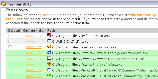 Screenshot of FreeFixer's scan result where the koobface file ld14.exe goes undetected.
