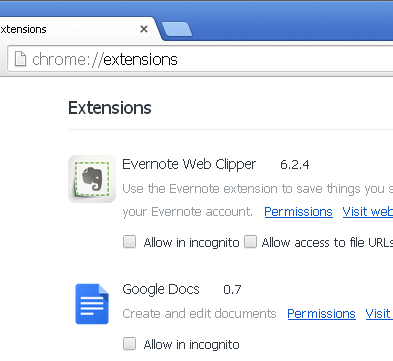 The image shows a few extensions installed in Google Chrome.