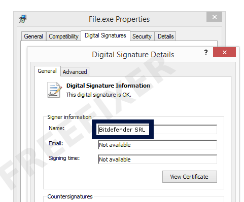 Screenshot of the Bitdefender SRL certificate