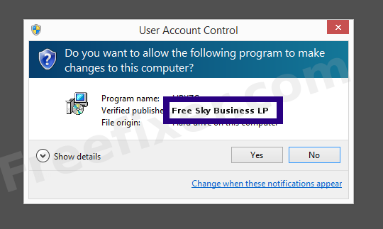 Screenshot where Free Sky Business LP appears as the verified publisher in the UAC dialog