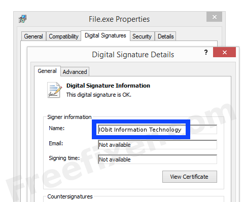 Screenshot of the IObit Information Technology certificate